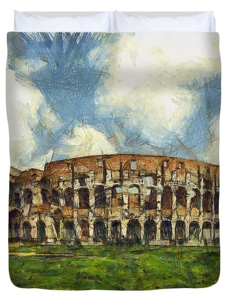 Colosseum Pencil Duvet Cover by Sophie McAulay