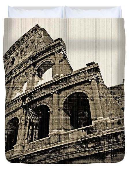 Duvet Cover featuring the photograph Colosseum Rome - Old Photo Effect by Cheryl Del Toro