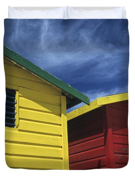 Coloured Beach Huts Duvet Cover