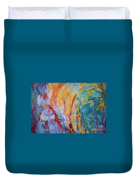 Colourful Abstract Duvet Cover by Ann Fellows