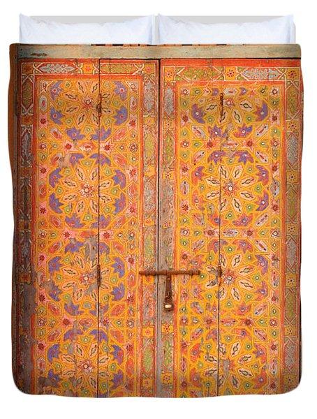 Colourful Entrance Door Sale Rabat Morocco Duvet Cover by Ralph A  Ledergerber-Photography