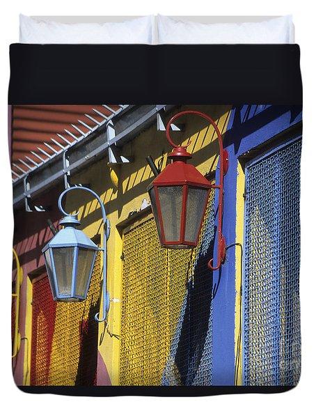 Colourful Lamps La Boca Buenos Aires Duvet Cover by James Brunker