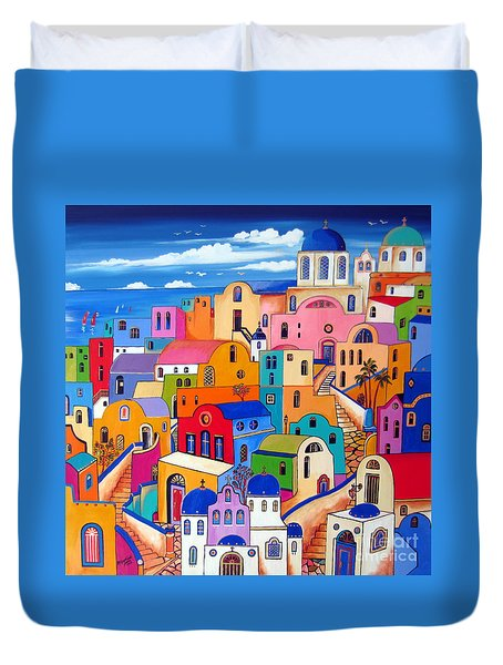 Duvet Cover featuring the painting Colours In Santorini by Roberto Gagliardi