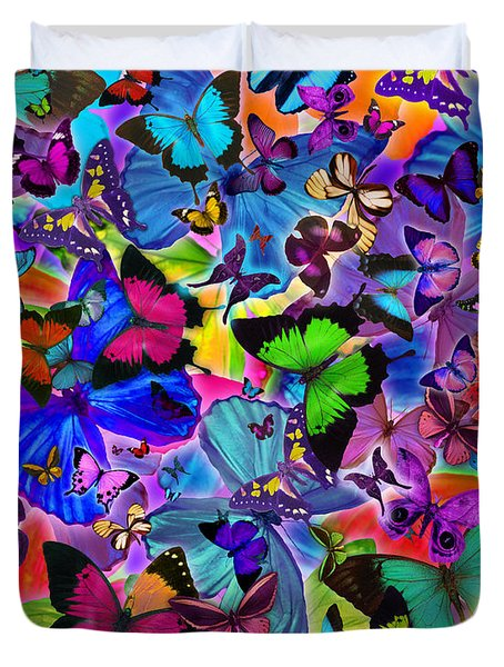 Colours Of Butterflies Duvet Cover by Alixandra Mullins