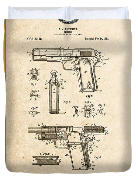 Colt 1911 By John M. Browning - Vintage Patent Document Duvet Cover