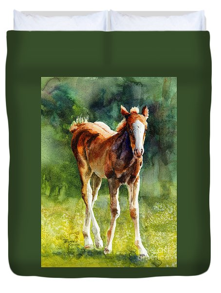 Colt In Green Pastures Duvet Cover