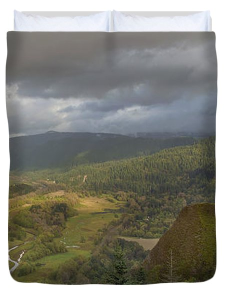 Duvet Cover featuring the photograph Columbia River Gorge View From Crown Point by JPLDesigns