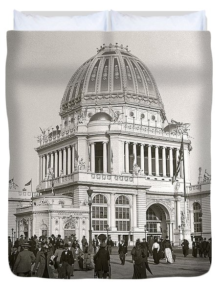 Duvet Cover featuring the photograph Columbian Exposition Chocolat 1893 by Martin Konopacki Restoration