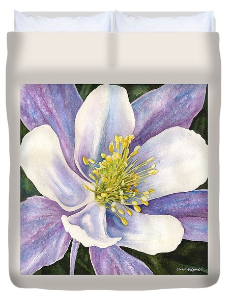 Columbine Closeup Duvet Cover