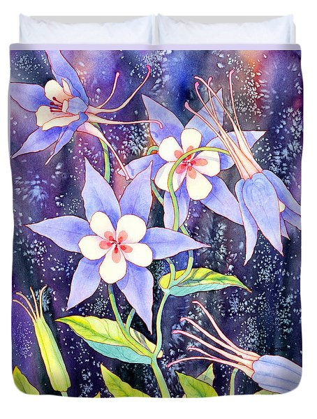 Duvet Cover featuring the painting Columbine by Teresa Ascone