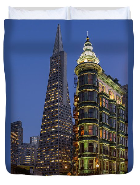 Columbus And Transamerica Buildings Duvet Cover