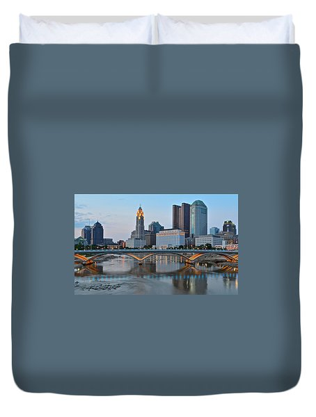 Columbus Ohio As The Lights Come On Duvet Cover
