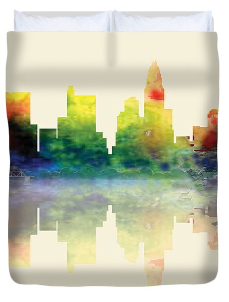 Columbus Ohio Skyline Duvet Cover