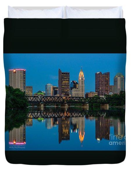 Columbus Ohio Night Skyline Photo Duvet Cover