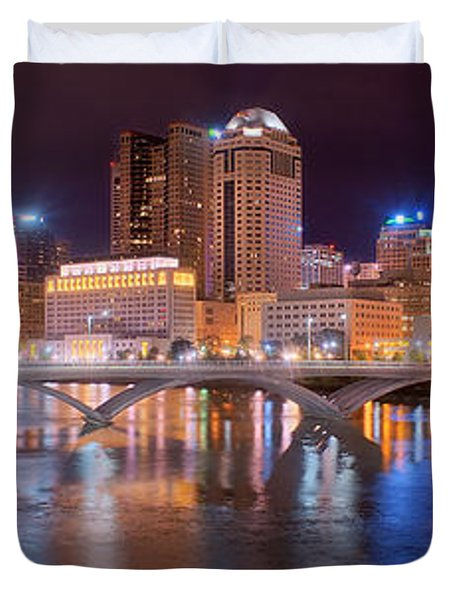 Columbus Skyline At Night Color Panorama Ohio Duvet Cover by Jon Holiday