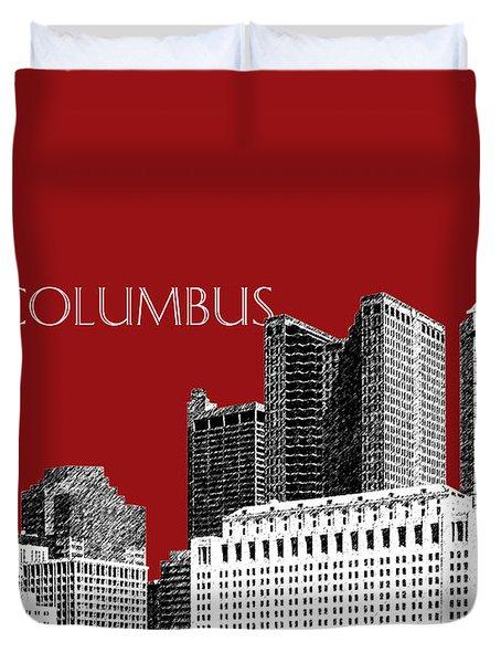 Columbus Skyline - Dark Red Duvet Cover