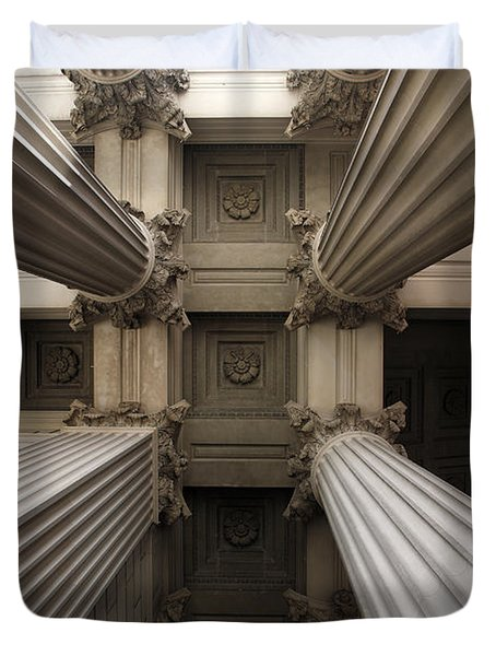 Columns At The National Archives In Washington Dc Duvet Cover