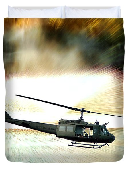 Combat Helicopter Duvet Cover