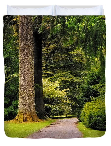 Come Sit With Me. Benmore Botanical Garden. Scotland Duvet Cover by Jenny Rainbow