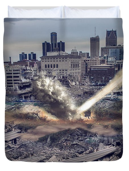 Duvet Cover featuring the photograph Comerica Park Asteroid by Nicholas  Grunas