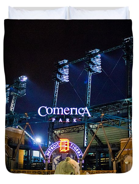 Comerica Park At Night  Duvet Cover by John McGraw