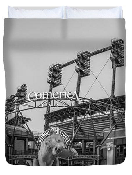 Comerica Park Black And White Duvet Cover by John McGraw