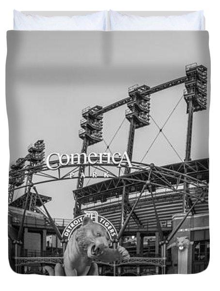 Comerica Park Black And White Duvet Cover