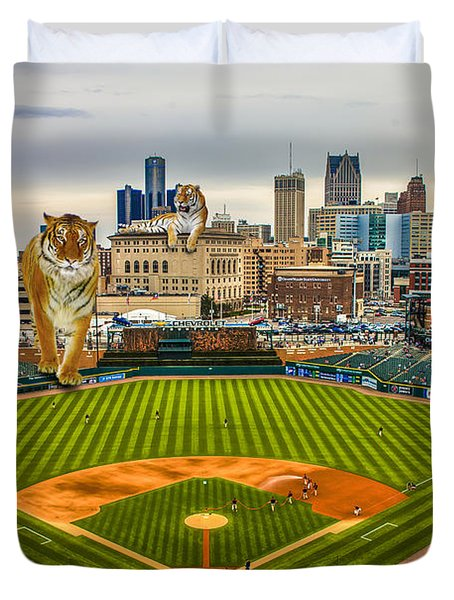 Duvet Cover featuring the photograph Comerica Park Detroit Mi With The Tigers by Nicholas  Grunas