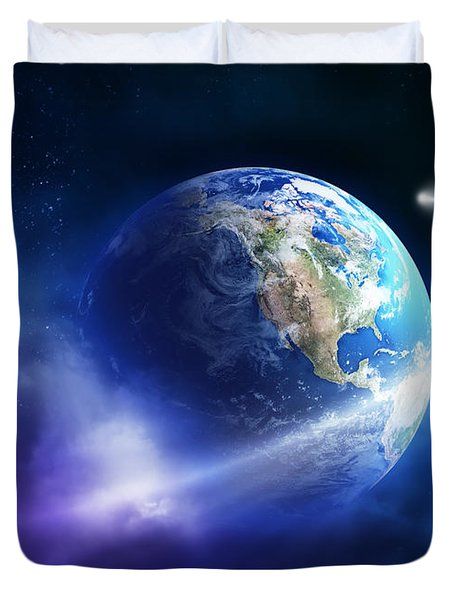 Comet Moving Passing Planet Earth Duvet Cover