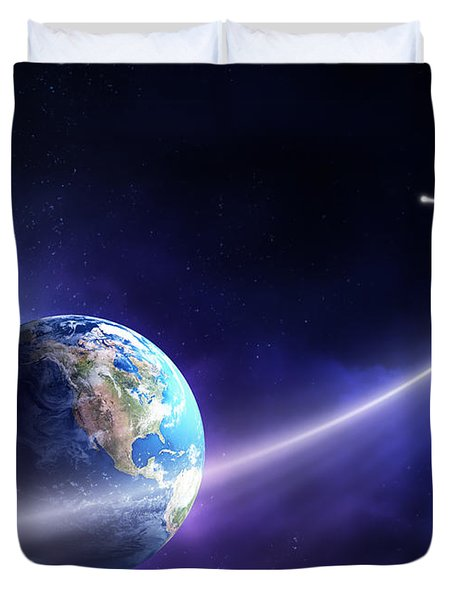 Comet Moving Past Planet Earth Duvet Cover