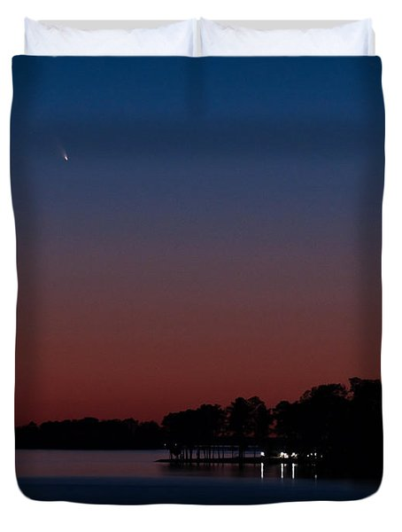 Comet Panstarrs And Crescent Moon Duvet Cover