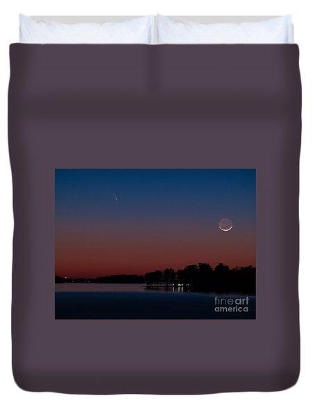 Comet Panstarrs And Crescent Moon Duvet Cover