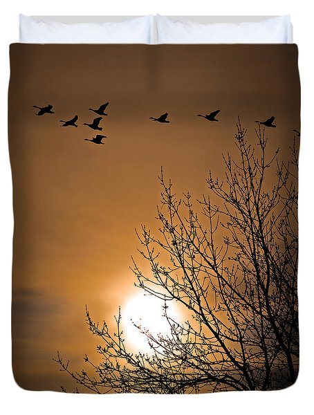 Coming Home In The Spring Duvet Cover by Bob Orsillo