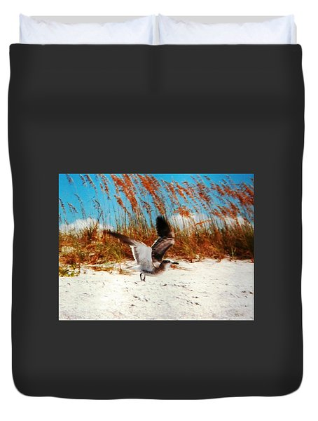 Duvet Cover featuring the photograph Windy Seagull Landing by Belinda Lee