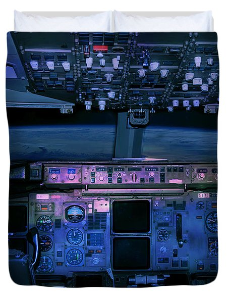 Commercial Airplane Cockpit By Night Duvet Cover