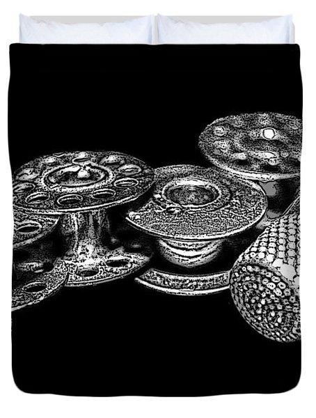 Commercial Vintage Bobbins On Black Duvet Cover