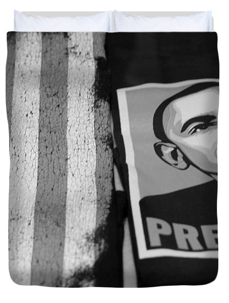 Commercialization Of The President Of The United States In Balck And White Duvet Cover by Rob Hans