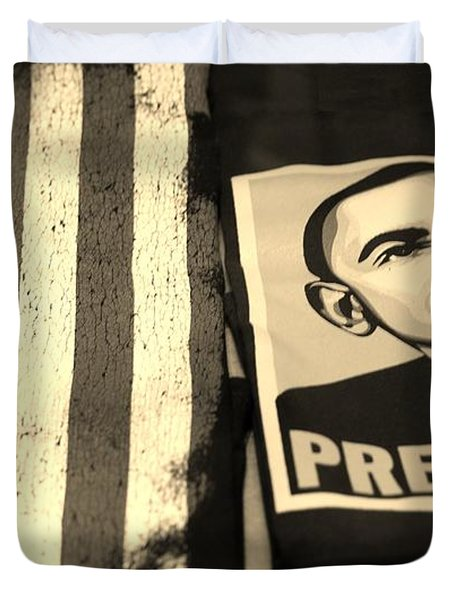 Commercialization Of The President Of The United States In Sepia Duvet Cover by Rob Hans