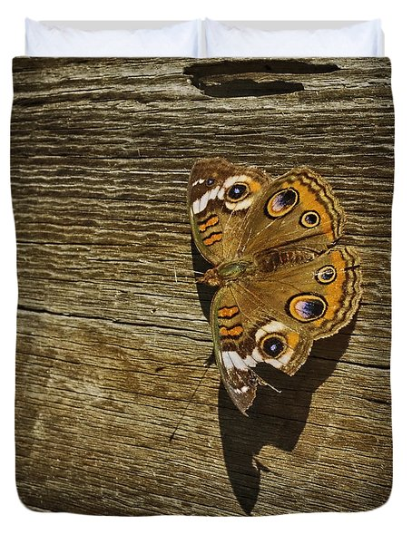 Common Buckeye With Torn Wing Duvet Cover by Lynn Palmer