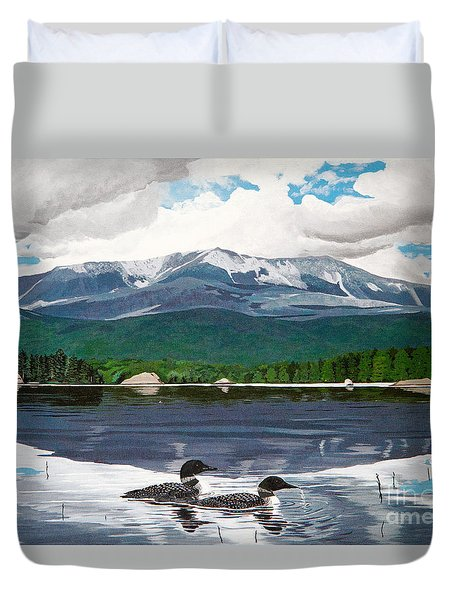 Common Loon On Togue Pond By Mount Katahdin Duvet Cover