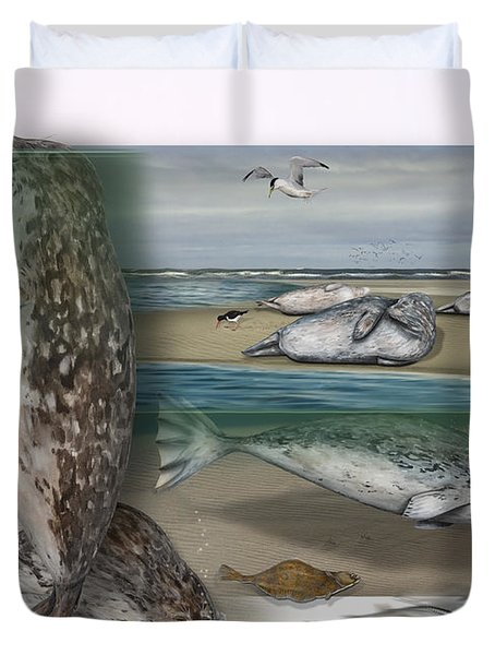 Duvet Cover featuring the painting Common Seal - Harbour Seal - Harbor Seal - Habitat - Nature Interpretive Panel - Zoo Tafel  by Urft Valley Art