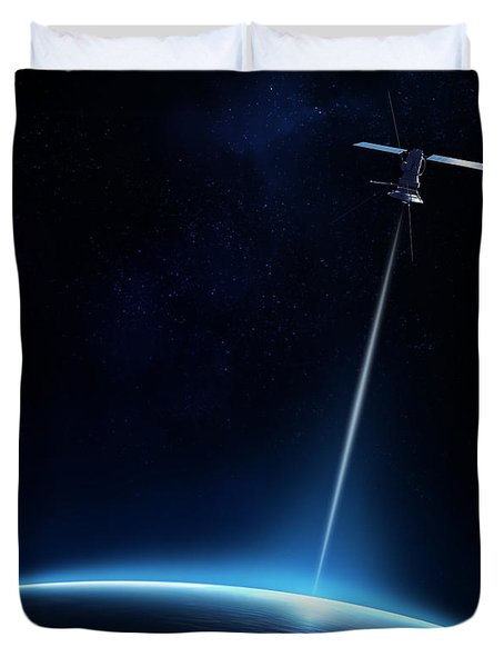 Communication Between Satellite And Earth Duvet Cover