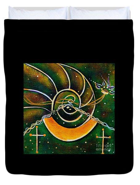Duvet Cover featuring the painting Communicator Spirit Eye by Deborha Kerr