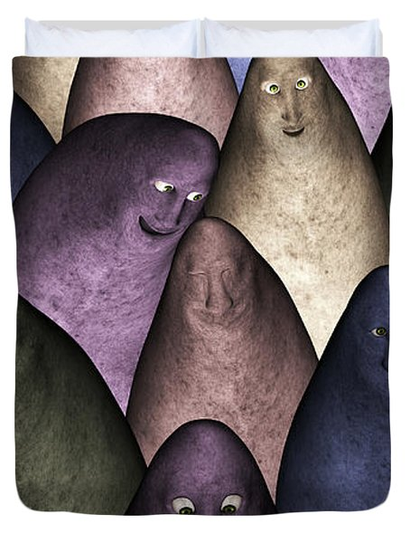 Duvet Cover featuring the digital art Community by Gabiw Art