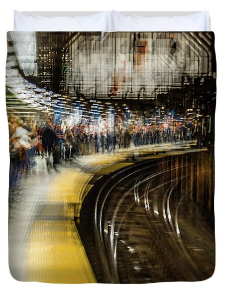 Commuters In Nyc Subway System Duvet Cover