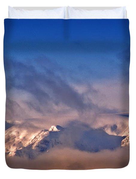 Comox Glacier And Morning Mist Duvet Cover