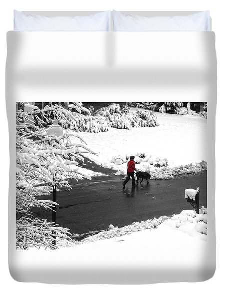Companions Walking On Christmas Morning Duvet Cover by Sandi OReilly