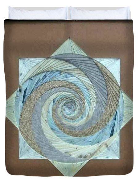 Duvet Cover featuring the mixed media Compass Headings by Ron Davidson