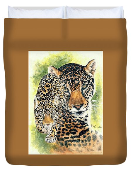 Duvet Cover featuring the mixed media Compelling by Barbara Keith