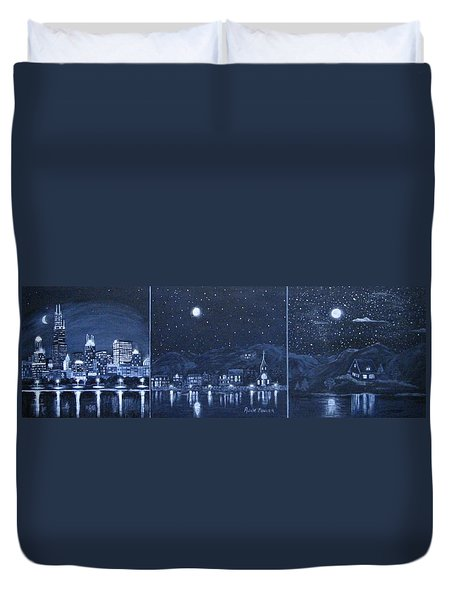 Competing Lights Duvet Cover
